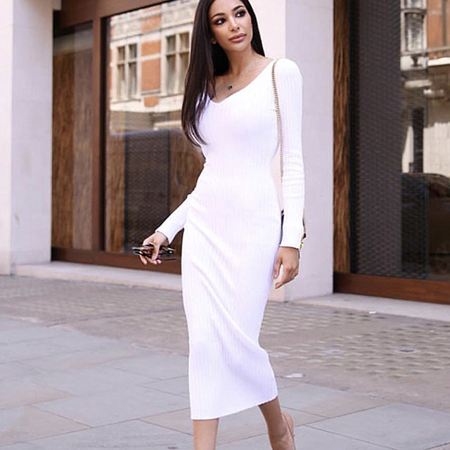 8eb9061889f3 Colysmo V-Neck Sexy Ribbed Autumn Dress Long Sleeve Winter Dress Women  Elegant Knitted Bodycon