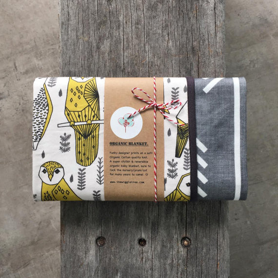 Organic Cotton Baby Blankets - Yellow Owls Prints