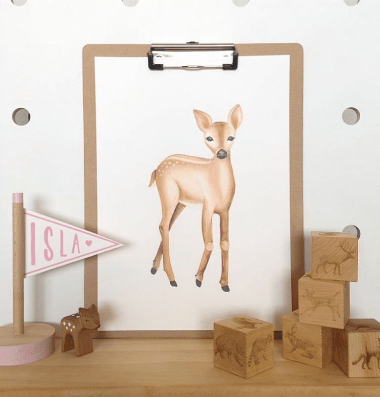 the-wiggle-tree-deer-woodland-animals-nursery-art-print