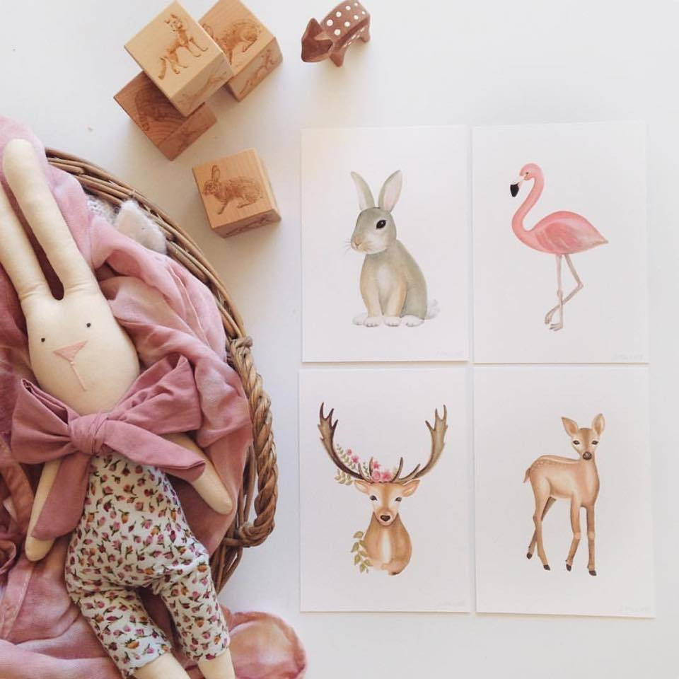 nursey-wall-art-prints-flatlay-woodland-animals-birds