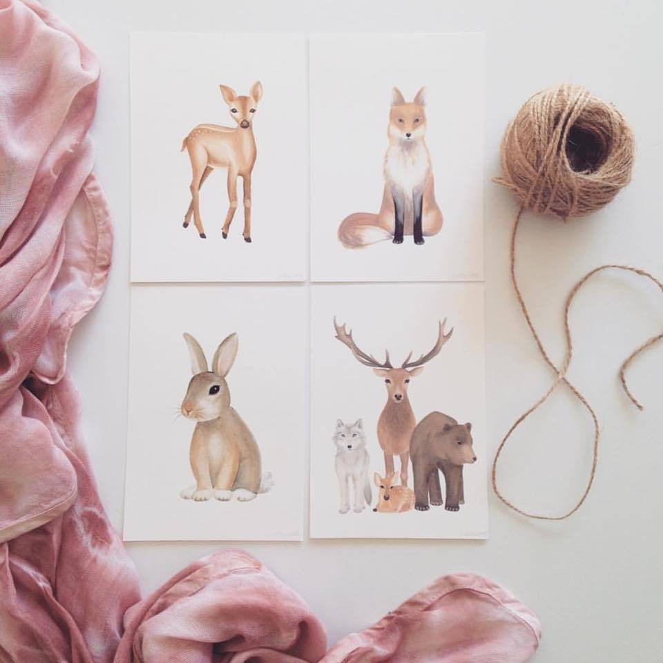 woodland animals nursey art prints flatlay pack by Jo Collier