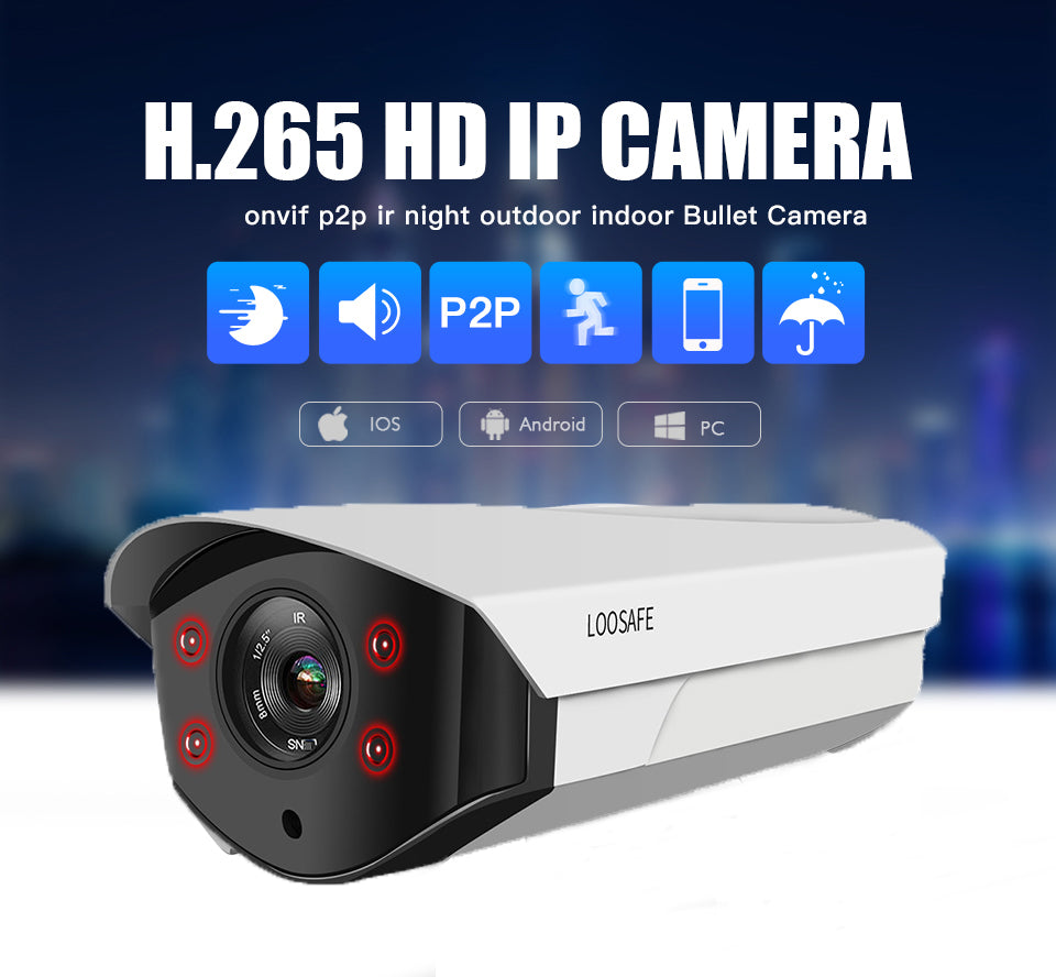 Loosafe 5MP 1080p  POE  20m infrared night vision H.265X  Network Monitor wifi Camera Outdoor Bullet Camera