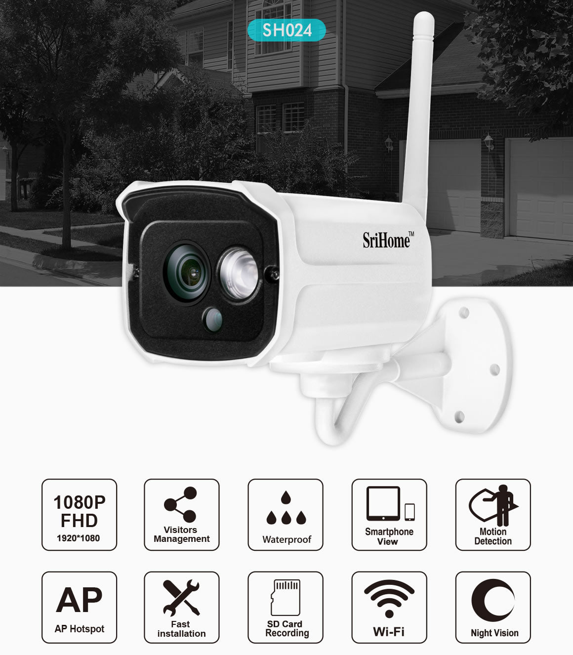 Sricam SH024 1080P Outdoor Waterproof IP Camera