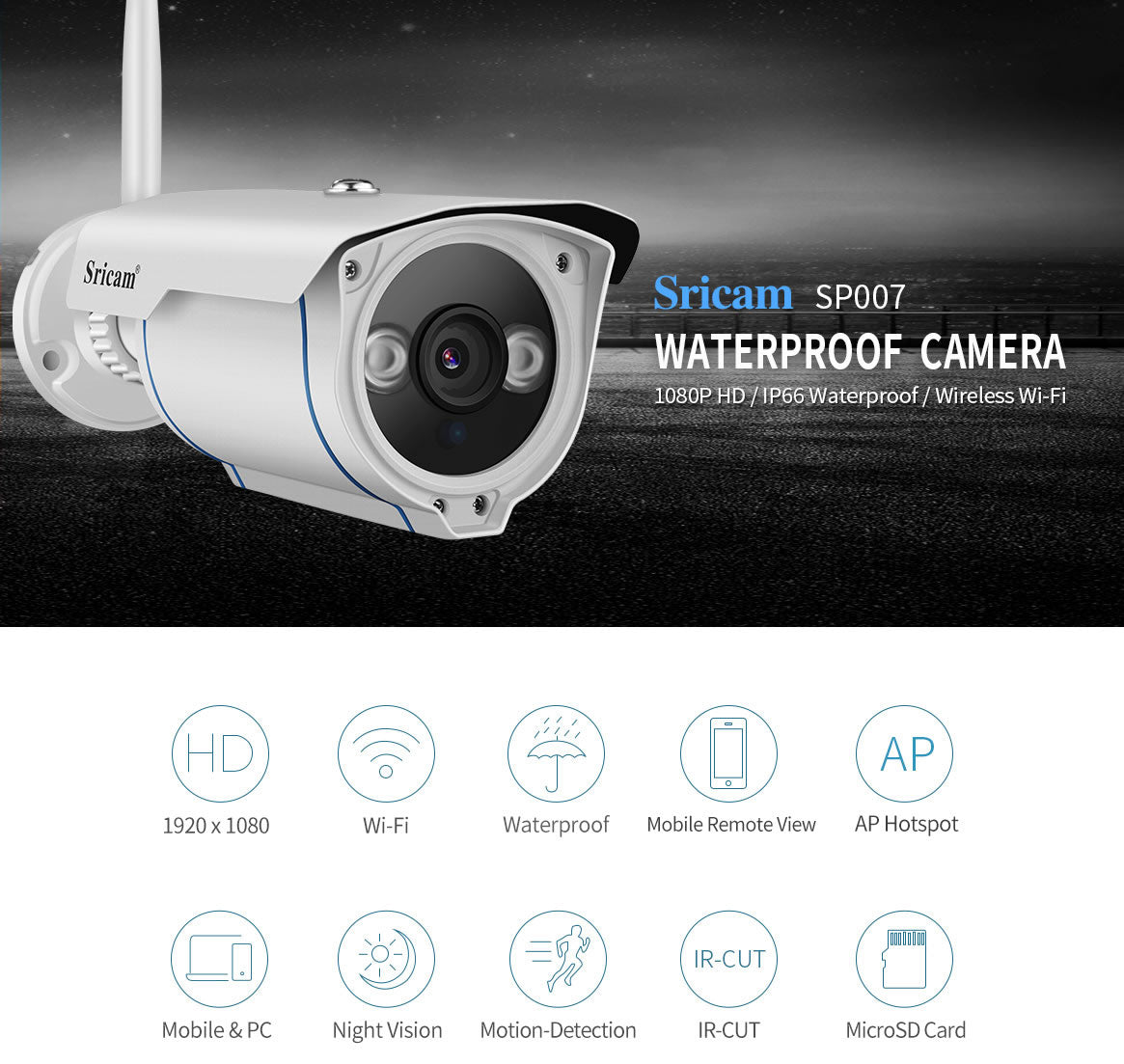 Sricam SP007 FHD 1080P Wireless Outdoor Waterproof IP Camera