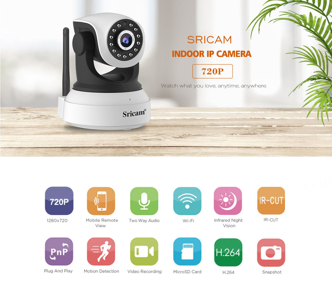 Sricam SP017 Security Camera 720p HD Pan//Tilt//Zoom Wireless IP Camera with Tw...