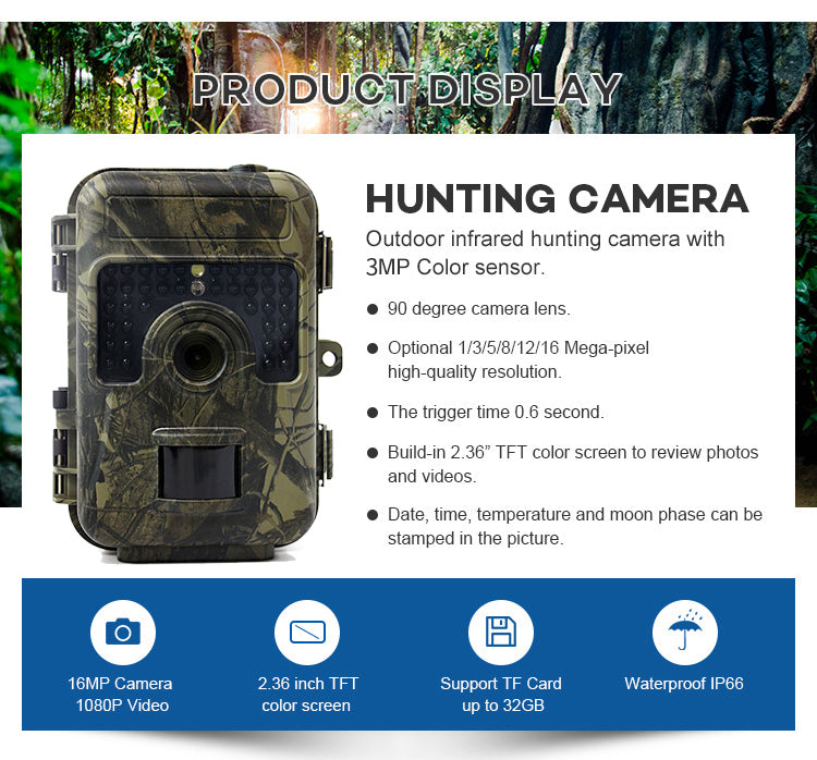V380 16MP 1080P Trigger Time 0.6S Digital Infrared Trail Hunting camera