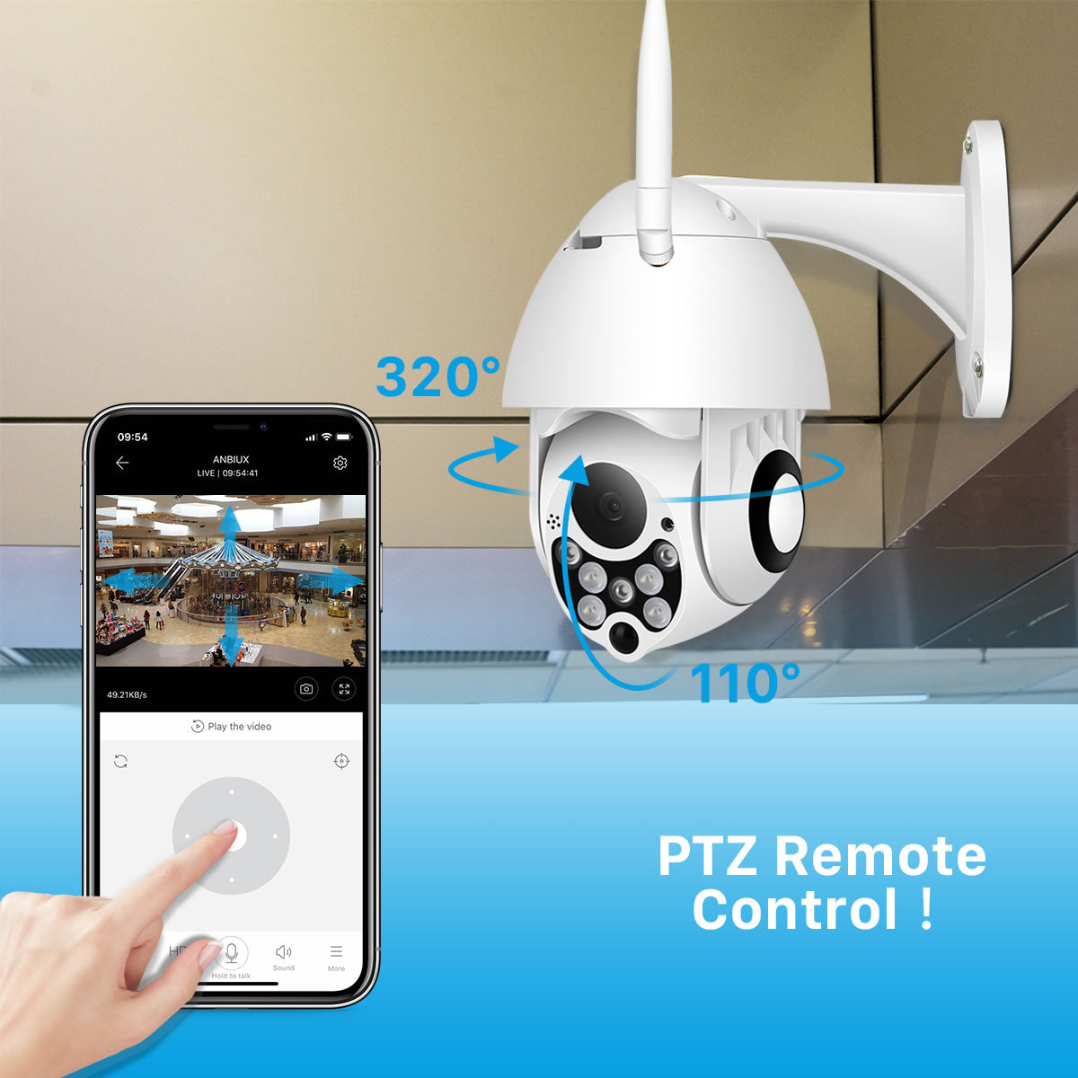 V380 2MP 5X Zoom PTZ Full Color Night Vision POE Wifi Security Camera