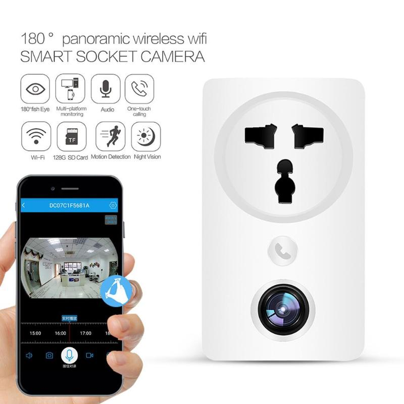 V380 2MP HD 1080P 180°wide angle 25FPS  Infrared Night Vision Motion Detection Smart Socket EU Plug Smart Home Wifi Camera
