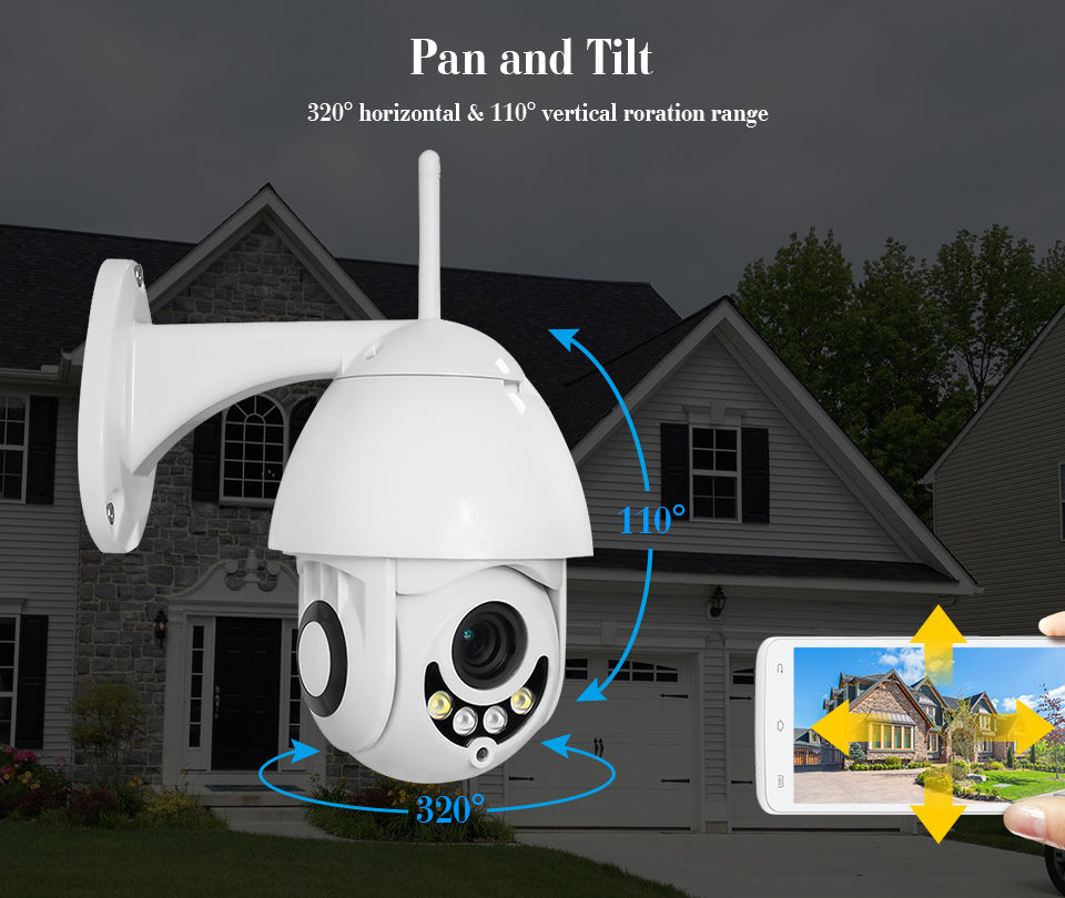 V380 5MP 5X Zoom Full Color Night Vision 1080P PTZ Dome Camera Outdoor Wireless Security Camera