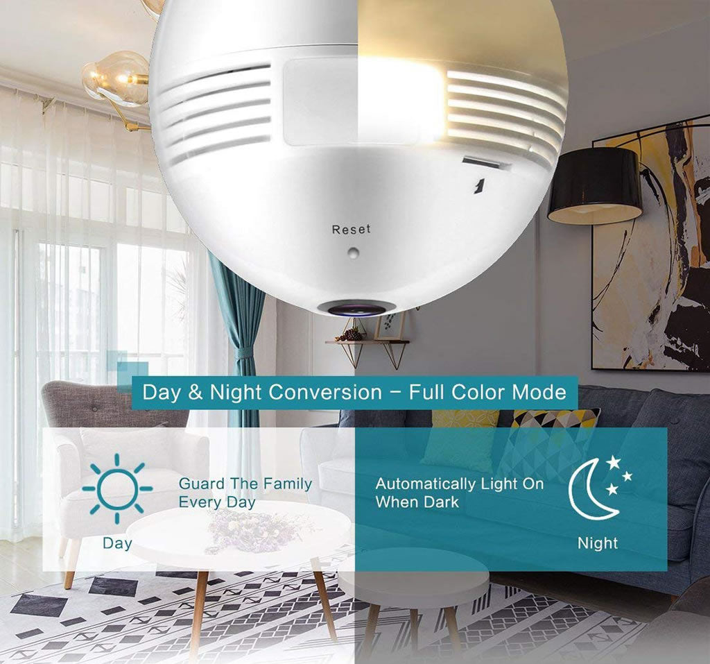 V380 Bulb Light Wireless IP Camera Panoramic Wifi LED Light