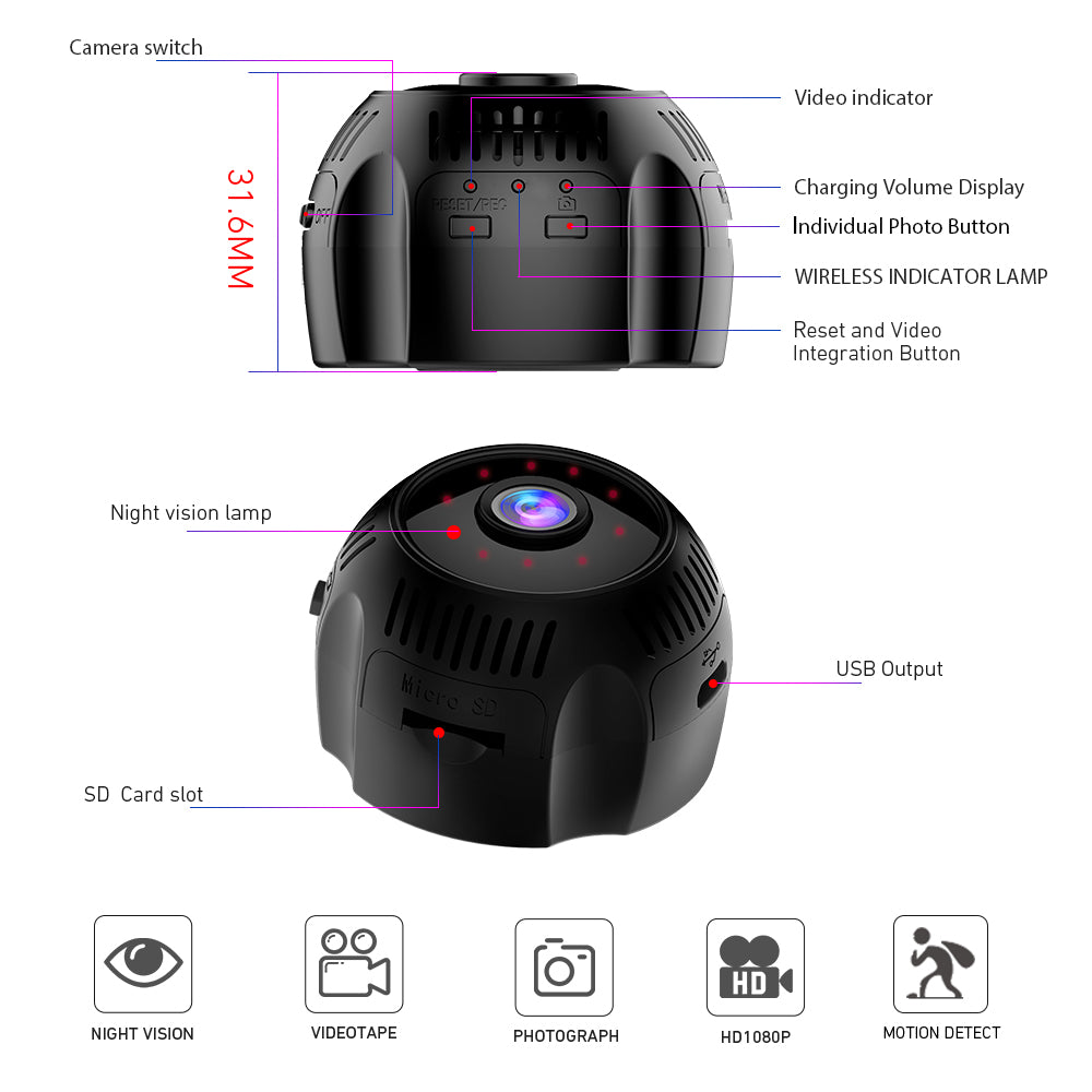 V380 X7 1080P Night Vision Wifi Mini Wireless Camera