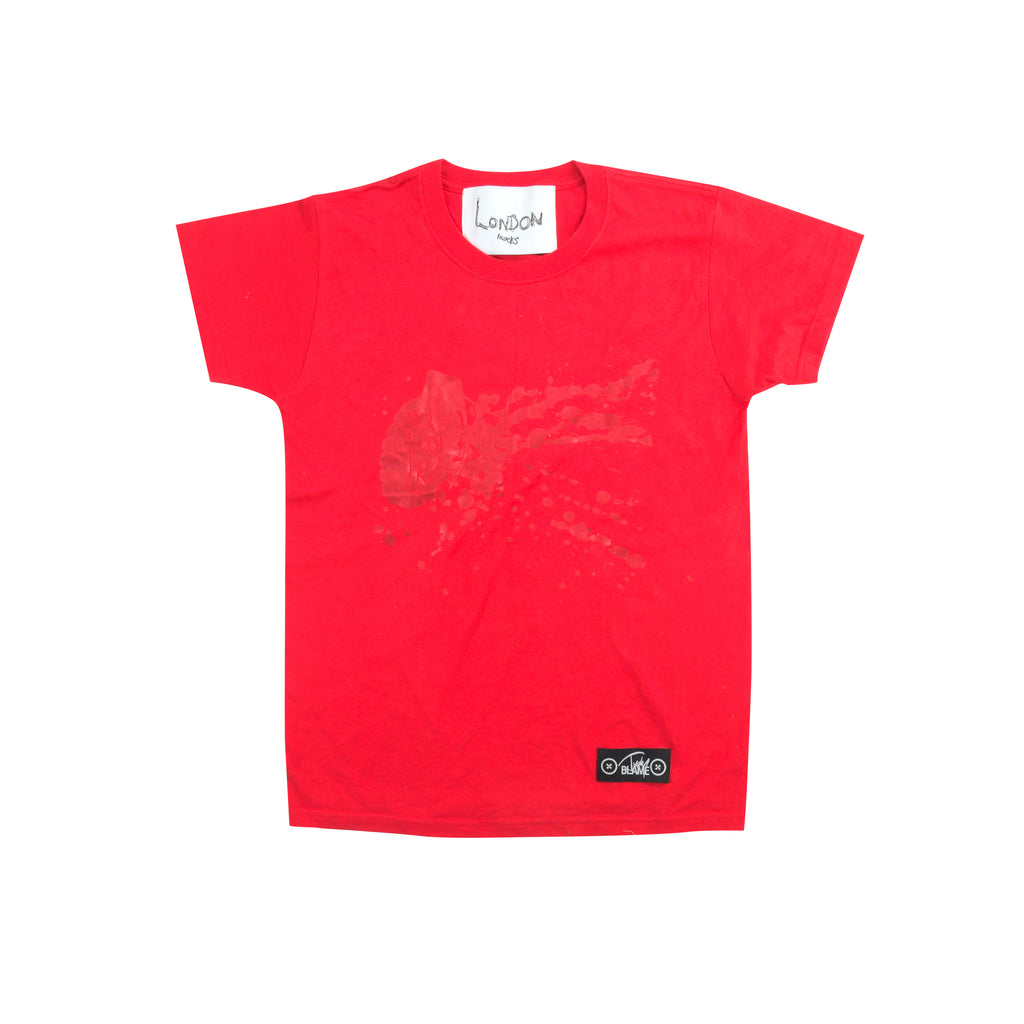 DEADSTOCK LONDON BOLLOCKS T-SHIRT IN RED BY JUDY BLAME