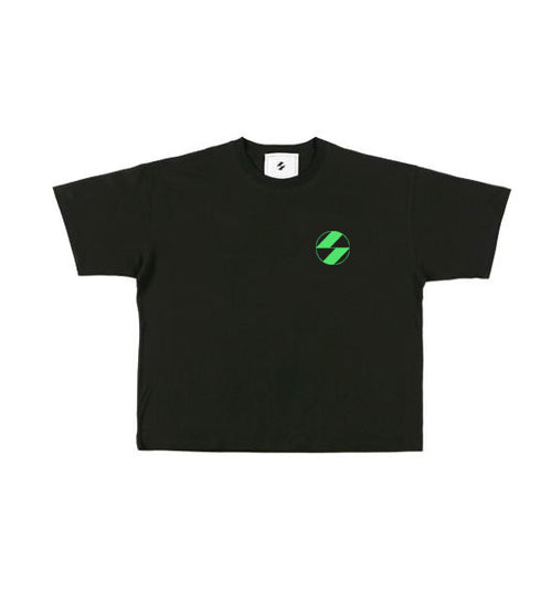 The Salvages Neon Green Logo Black OS T-Shirt