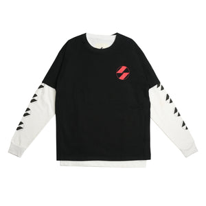 The Salvages Red Logo OS Short Over Long T-Shirt (Made in USA) Black on White