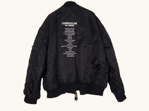 10th Anniversary CURRICULUM MA-1 Black Flight Bomber Jacket by Raf Simons