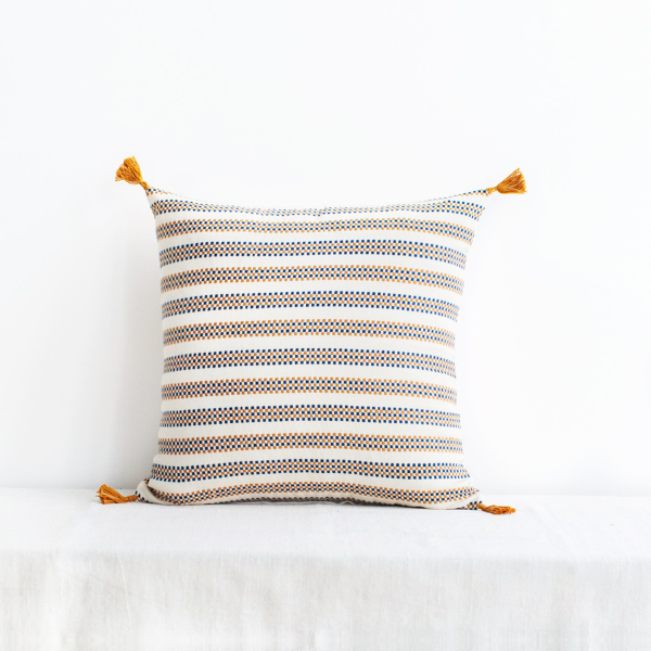 Amelie Cushion Cover Blue & Mustard
