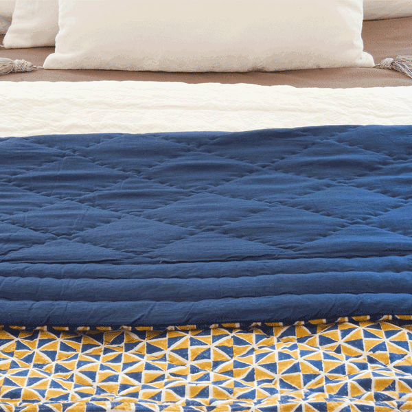 Ambre Quilted Duvet Blue & Mustard