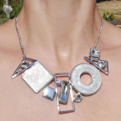 Abstract Necklace White