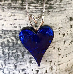 bright blue resin heart necklace