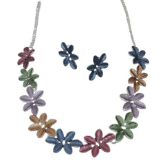 Bright Enamel Flowers Necklace