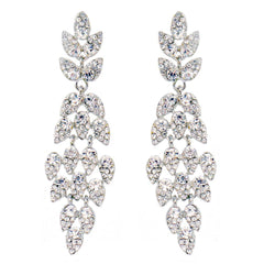 Diamante Chandelier Earrings- Long sparkly diamond pierced earrings