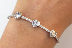 Diamante Three Hearts Bracelet