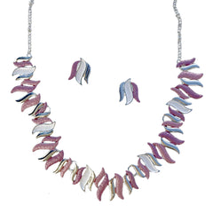 Elisa Enamel Pink Necklace & Earrings SetElisa Enamel Pink Necklace & Earrings Set