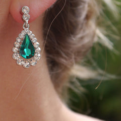 Emerald Chandelier Diamante Earrings