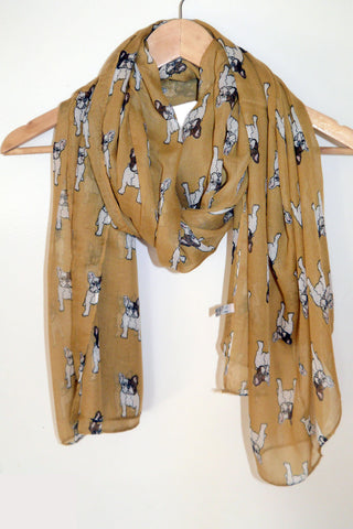 French Bulldog Scarf- Cute dog print chiffon wrap