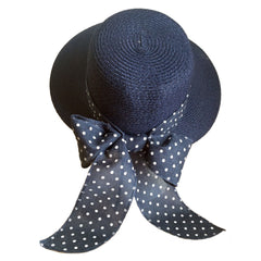 Straw Hat with Polka Dot Bow