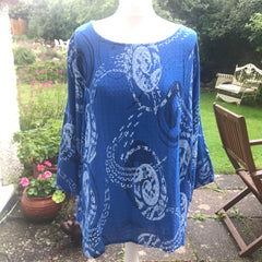 Royal Blue and White Cotton Top