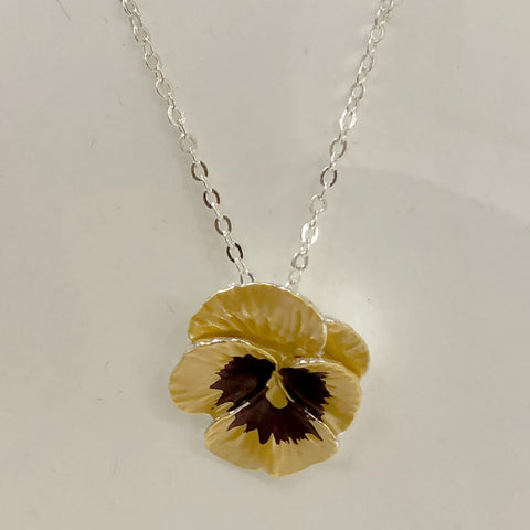 Yellow pansy pendant necklace