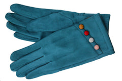 Velvet gloves with rainbow buttons