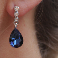Sapphire Drop Diamante Earrings
