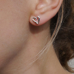 Silver Heart Studs- Tiny heart earrings