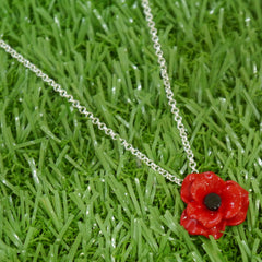 Single enamel poppy pendant