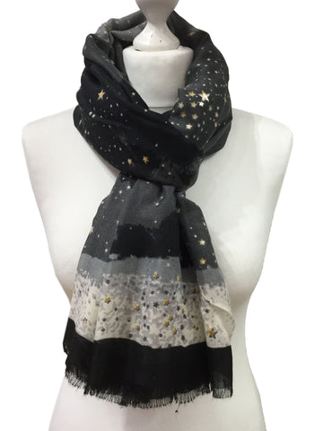 Starry night scarf star print black and grey