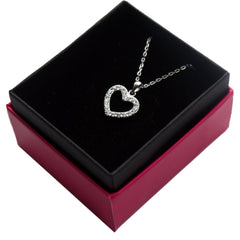 Sterling Silver Diamante Heart Pendant- Silver heart necklace