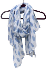 White & blue feather print scarf