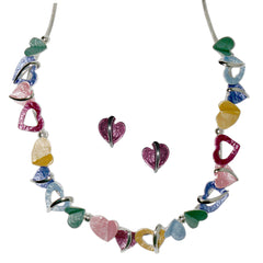 Rainbow Hearts Enamel Necklace