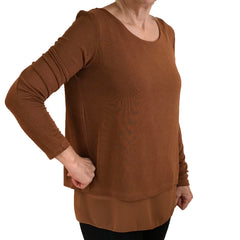 Wrap back top camel