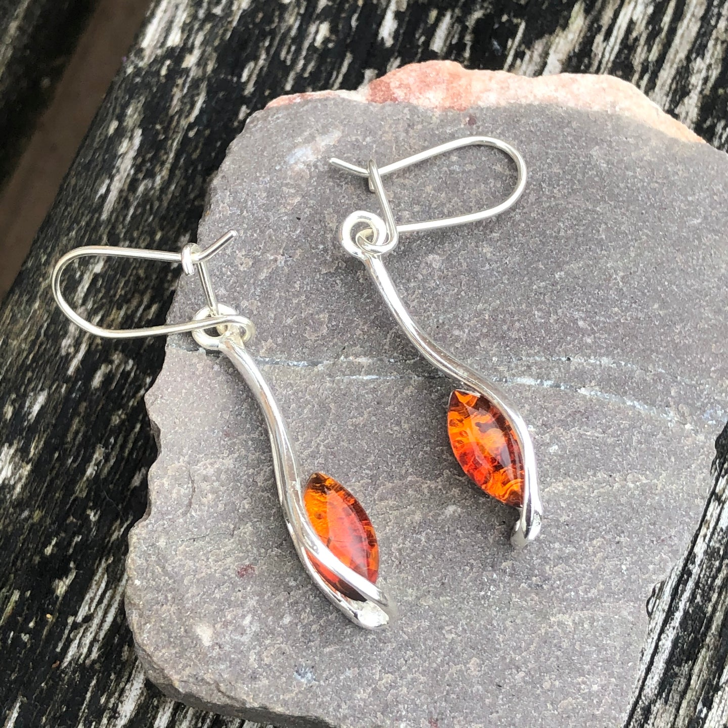 Amber Floating Leaves Earrings