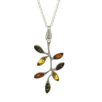 Amber Branches & Leaves Pendant