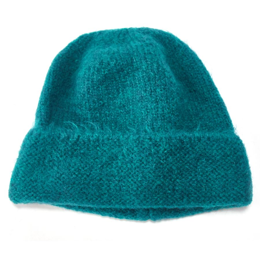 Teal Green Knitted Beanie Hat