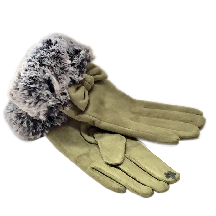 Olive Green Bow Gloves