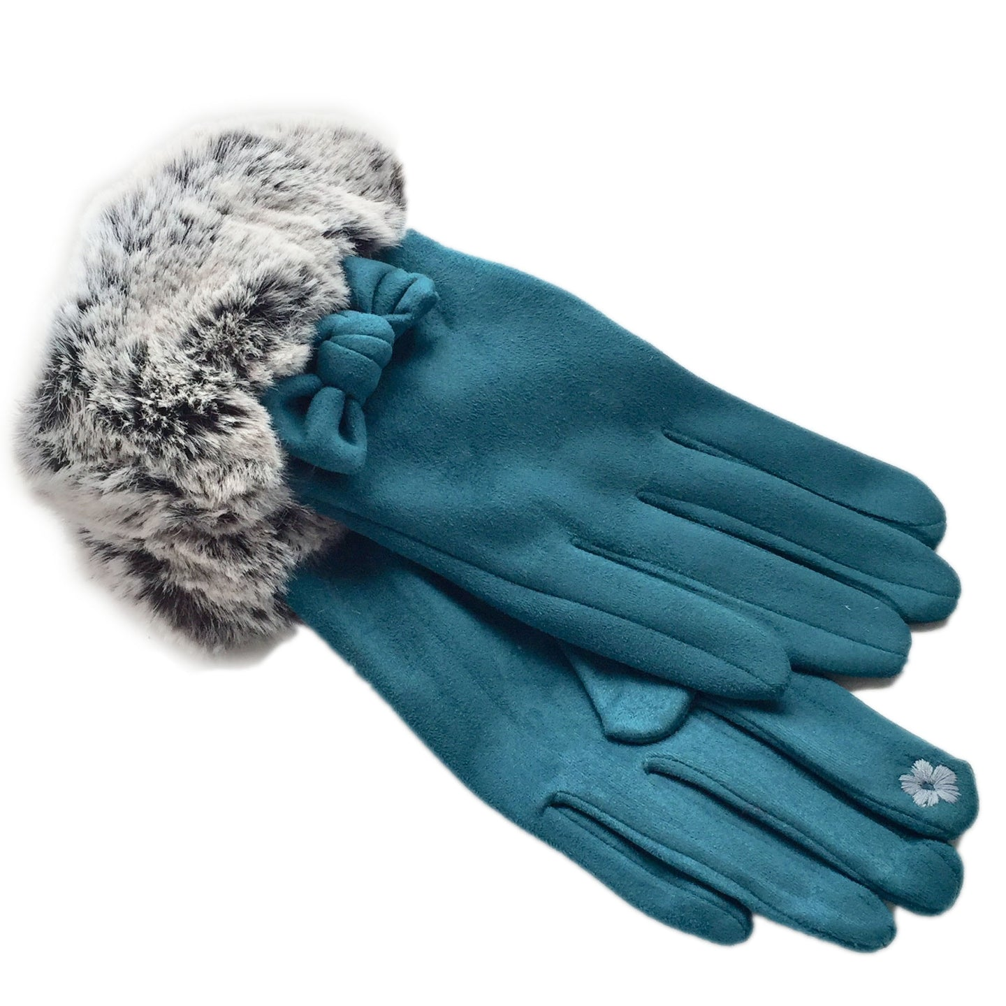 Teal Blue Bow Gloves