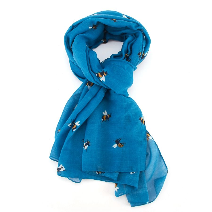 Teal Blue Busy Bee Scarf