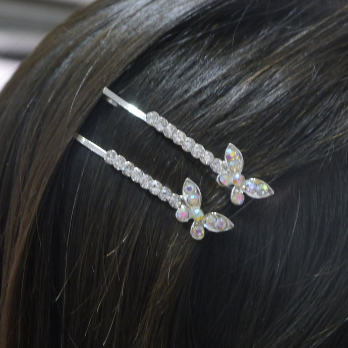 Butterfly Hairslides in Pearl & Diamante
