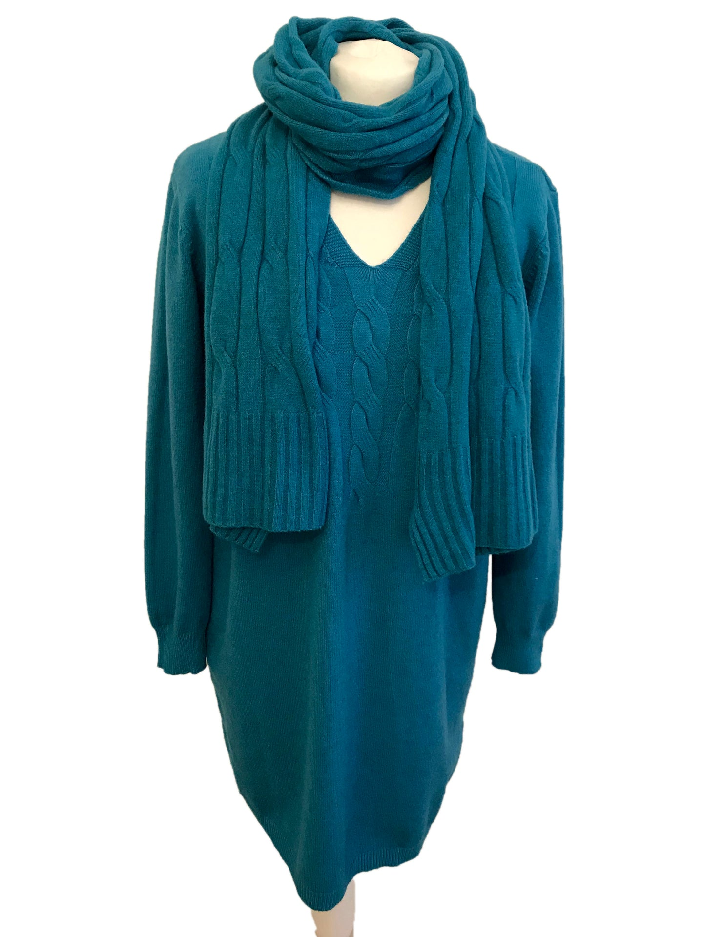 Cable Knit Jumper Dress Teal Blue