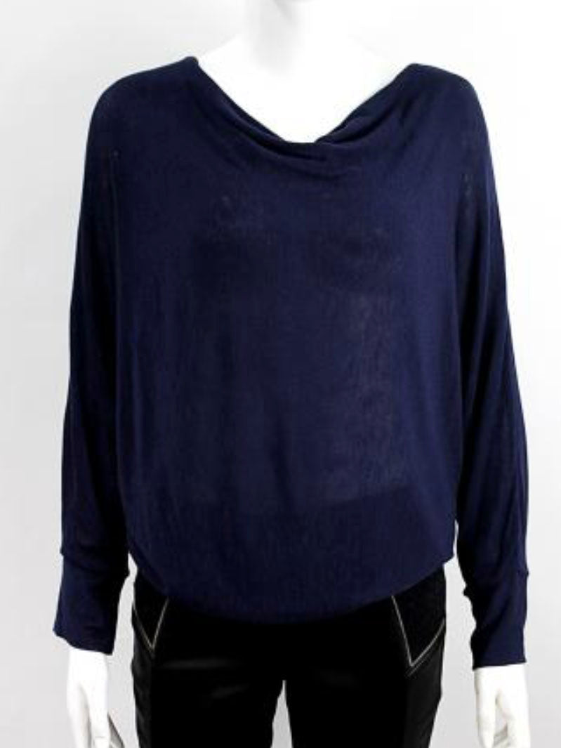 Cowl Neck Top Navy Blue